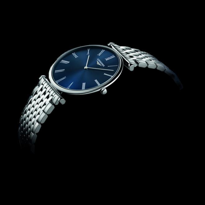 Herrenuhr Longines La Grande Classique Quarz 37mm mit blauem Zifferblatt und Edelstahlarmband bei Brogle