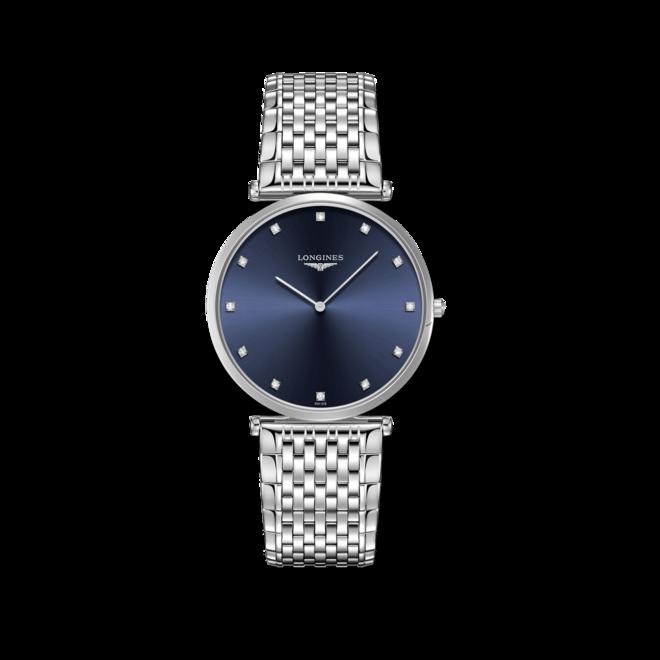 Damenuhr Longines La Grande Classique Quarz 37mm mit Diamanten, blauem Zifferblatt und Edelstahlarmband bei Brogle