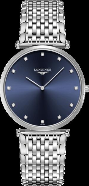 Damenuhr Longines La Grande Classique Quarz 37mm mit Diamanten, blauem Zifferblatt und Edelstahlarmband