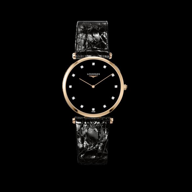 Armbanduhr Longines La Grande Classique de Longines Quarz 33mm mit Diamanten, schwarzem Zifferblatt und Alligatorenleder-Armband bei Brogle
