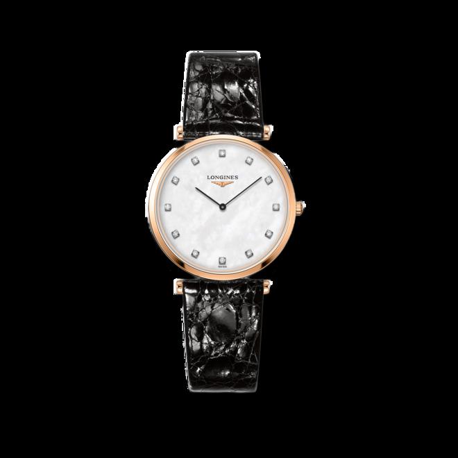 Armbanduhr Longines La Grande Classique de Longines Quarz 33mm mit Diamanten, perlmuttfarbenem Zifferblatt und Alligatorenleder-Armband bei Brogle