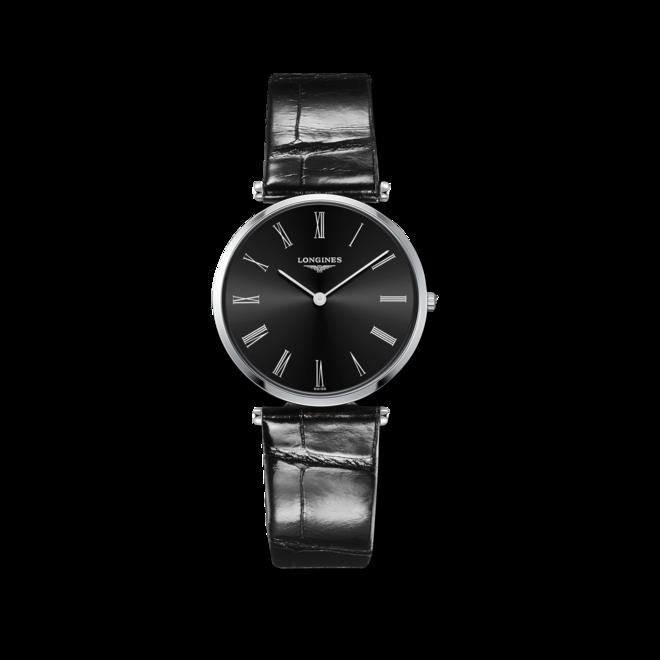 Armbanduhr Longines La Grande Classique de Longines Quarz 33mm mit schwarzem Zifferblatt und Alligatorenleder-Armband bei Brogle