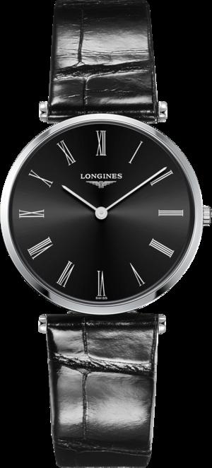 Armbanduhr Longines La Grande Classique de Longines Quarz 33mm mit schwarzem Zifferblatt und Alligatorenleder-Armband