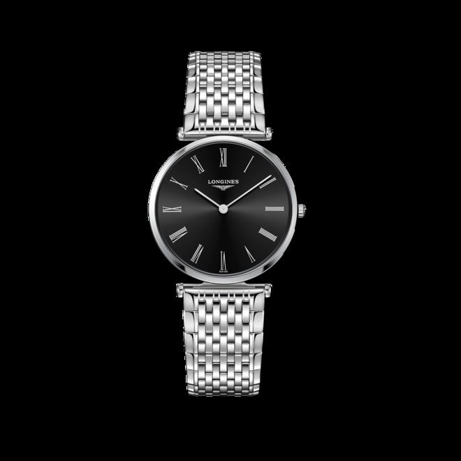 Armbanduhr Longines La Grande Classique de Longines Quarz 33mm mit schwarzem Zifferblatt und Edelstahlarmband bei Brogle