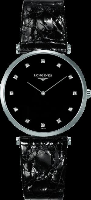 Armbanduhr Longines La Grande Classique de Longines Quarz 33mm mit Diamanten, schwarzem Zifferblatt und Alligatorenleder-Armband