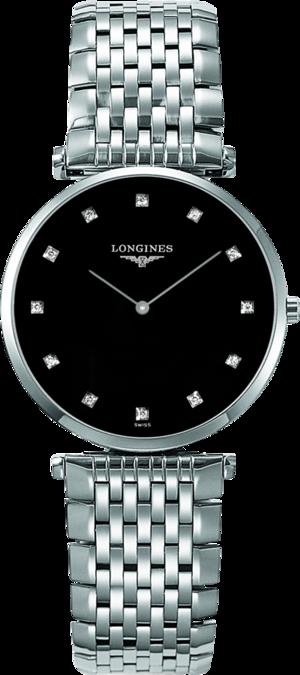 Armbanduhr Longines La Grande Classique de Longines Quarz 33mm mit Diamanten, schwarzem Zifferblatt und Edelstahlarmband