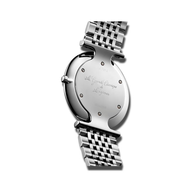 Armbanduhr Longines La Grande Classique de Longines Quarz 33mm mit Diamanten, schwarzem Zifferblatt und Edelstahlarmband bei Brogle