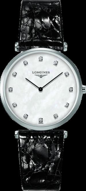 Armbanduhr Longines La Grande Classique de Longines Quarz 33mm mit Diamanten, perlmuttfarbenem Zifferblatt und Alligatorenleder-Armband
