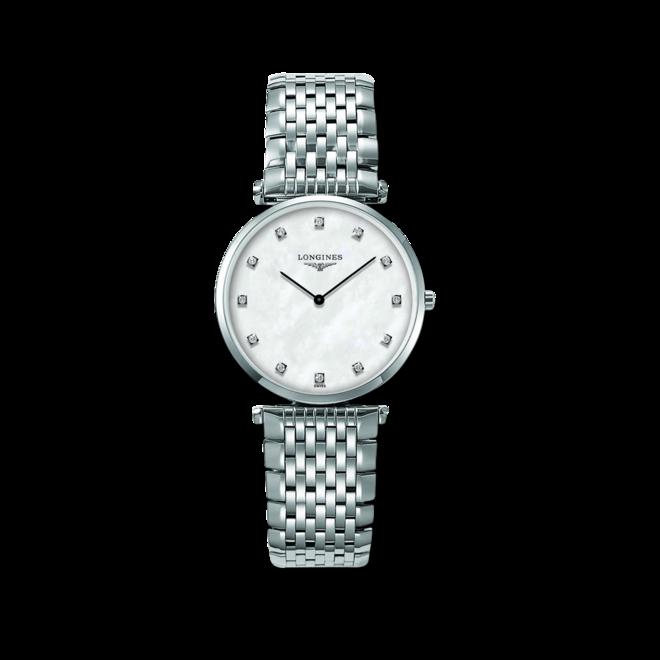 Armbanduhr Longines La Grande Classique de Longines Quarz 33mm mit Diamanten, perlmuttfarbenem Zifferblatt und Edelstahlarmband bei Brogle