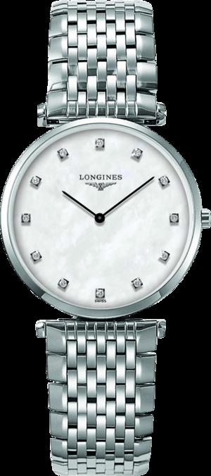 Armbanduhr Longines La Grande Classique de Longines Quarz 33mm mit Diamanten, perlmuttfarbenem Zifferblatt und Edelstahlarmband