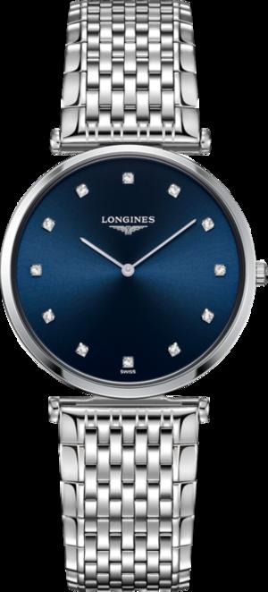 Armbanduhr Longines La Grande Classique de Longines Quarz 33mm mit Diamanten, blauem Zifferblatt und Edelstahlarmband