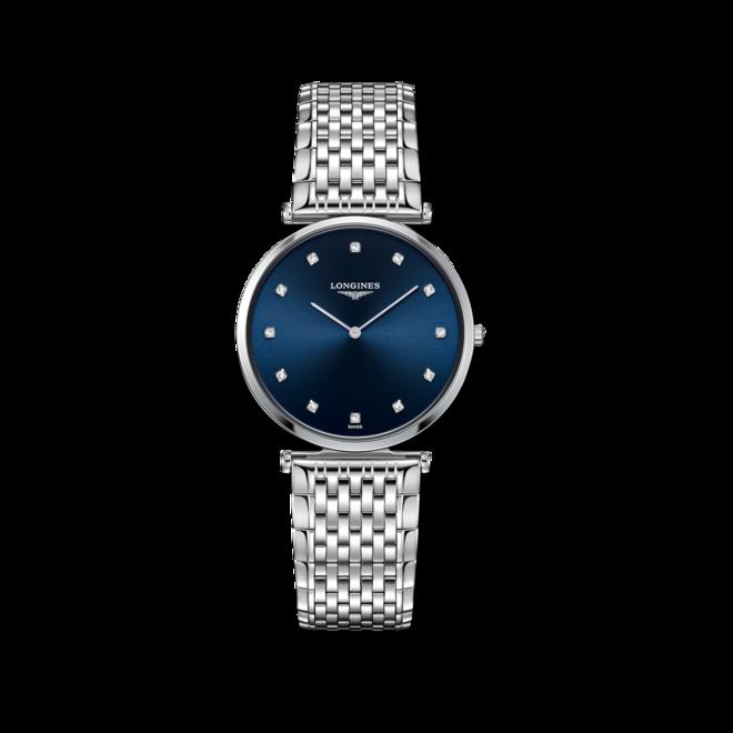 Armbanduhr Longines La Grande Classique de Longines Quarz 33mm mit Diamanten, blauem Zifferblatt und Edelstahlarmband bei Brogle