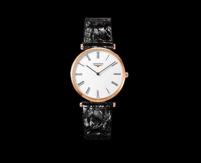Armbanduhr Longines La Grande Classique de Longines Quarz 36mm mit weißem Zifferblatt und Alligatorenleder-Armband bei Brogle