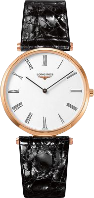 Armbanduhr Longines La Grande Classique de Longines Quarz 36mm mit weißem Zifferblatt und Alligatorenleder-Armband