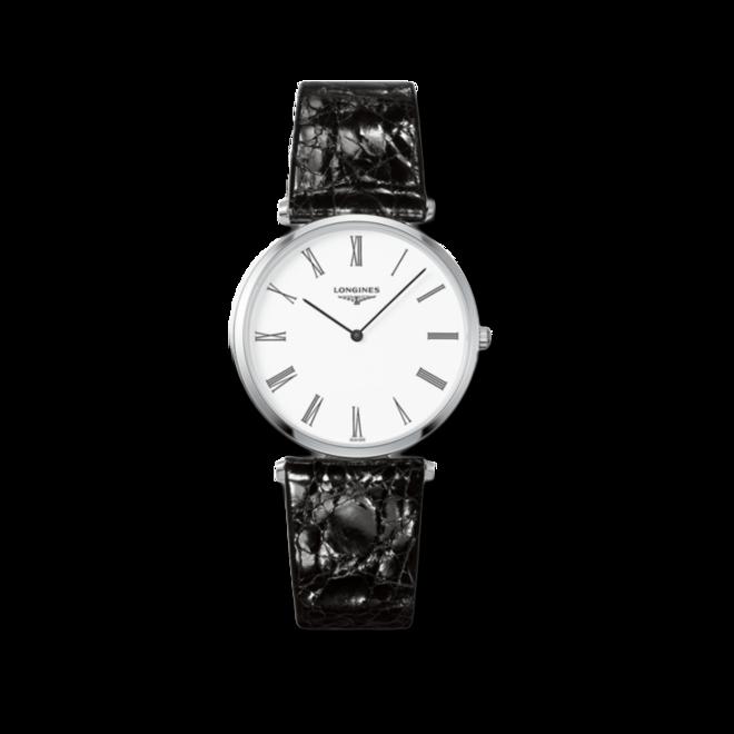 Damenuhr Longines La Grande Classique de Longines Quarz 36mm mit weißem Zifferblatt und Alligatorenleder-Armband bei Brogle