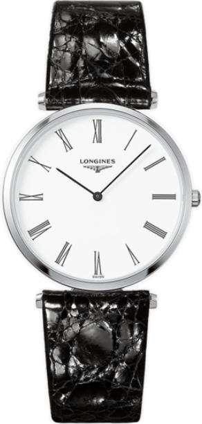 Damenuhr Longines La Grande Classique de Longines Quarz 36mm mit weißem Zifferblatt und Alligatorenleder-Armband