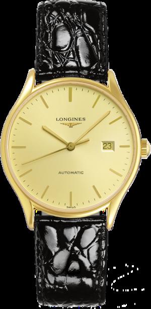 Damenuhr Longines Lyre Automatic 35mm mit gelbgoldfarbenem Zifferblatt und Alligatorenleder-Armband