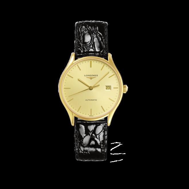 Damenuhr Longines Lyre Automatic 35mm mit gelbgoldfarbenem Zifferblatt und Alligatorenleder-Armband bei Brogle