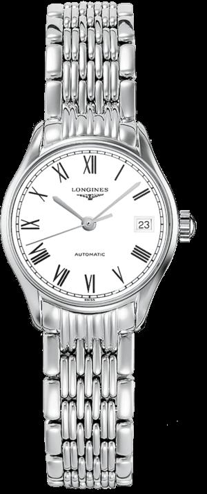 Damenuhr Longines Lyre Automatik 25mm mit weißem Zifferblatt und Edelstahlarmband