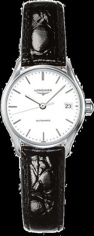 Damenuhr Longines Lyre Automatik 25mm mit weißem Zifferblatt und Kalbsleder-Armband