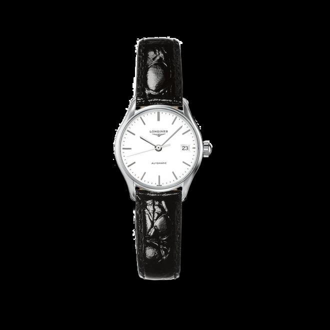 Damenuhr Longines Lyre Automatik 25mm mit weißem Zifferblatt und Kalbsleder-Armband bei Brogle