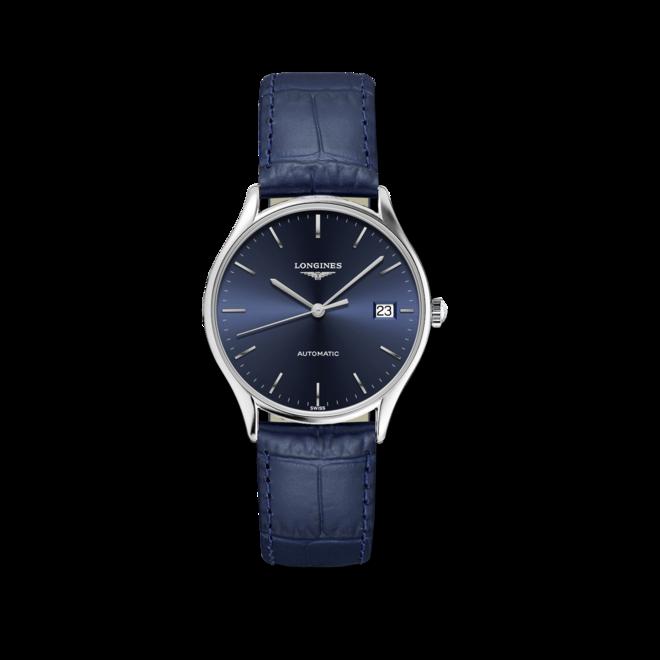 Herrenuhr Longines Lyre Automatik 35mm mit blauem Zifferblatt und Alligatorenleder-Armband bei Brogle