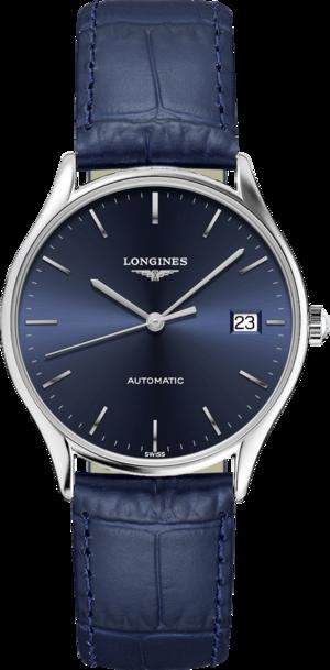 Herrenuhr Longines Lyre Automatik 35mm mit blauem Zifferblatt und Alligatorenleder-Armband