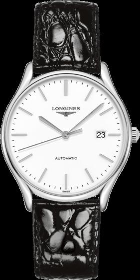 Armbanduhr Longines Lyre Automatik 38,5mm mit weißem Zifferblatt und Kalbsleder-Armband