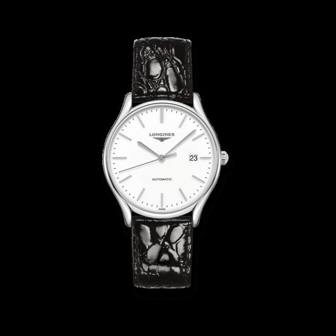 Armbanduhr Longines Lyre Automatik 38,5mm mit weißem Zifferblatt und Kalbsleder-Armband bei Brogle