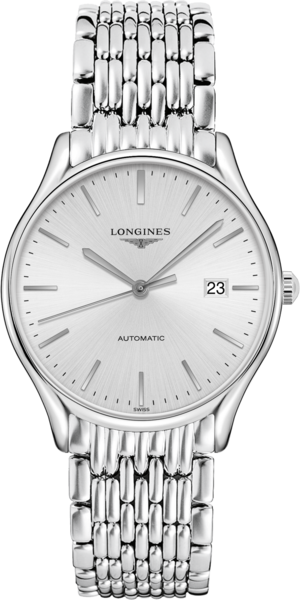 Armbanduhr Longines Lyre Automatik 38,5mm mit silberfarbenem Zifferblatt und Edelstahlarmband