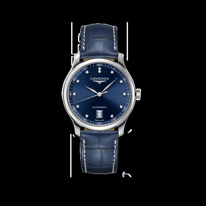 Damenuhr Longines Automatik 38,5mm mit blauem Zifferblatt und Alligatorenleder-Armband bei Brogle
