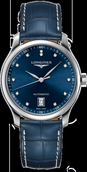 Damenuhr Longines Automatik 38,5mm mit blauem Zifferblatt und Alligatorenleder-Armband
