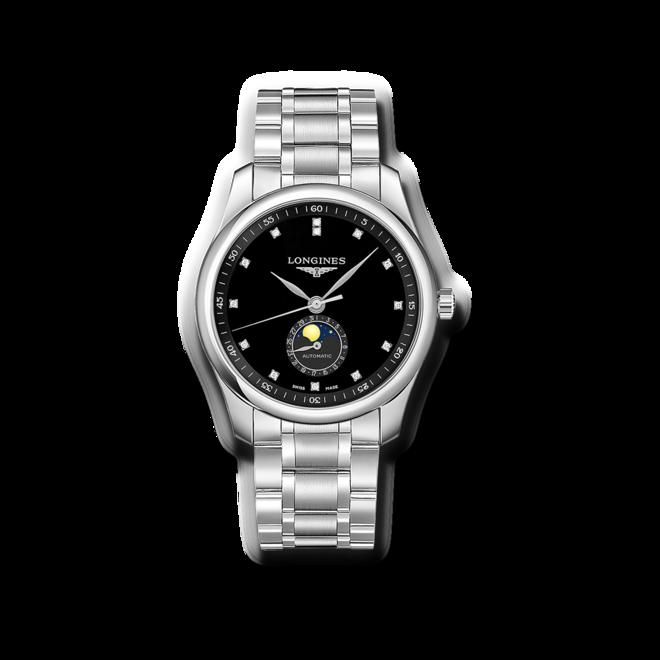 Herrenuhr Longines Automatik 40mm mit Diamanten, schwarzem Zifferblatt und Edelstahlarmband bei Brogle