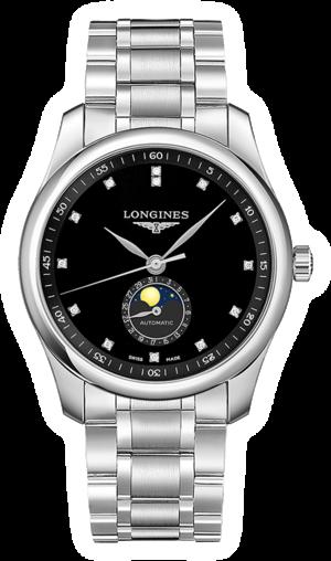 Herrenuhr Longines Automatik 40mm mit Diamanten, schwarzem Zifferblatt und Edelstahlarmband