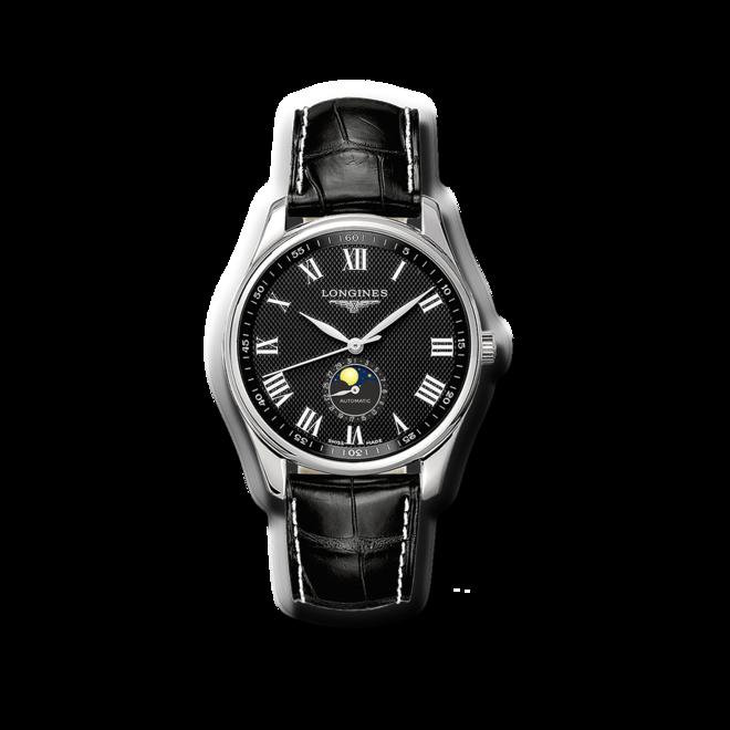 Herrenuhr Longines Automatik 42mm mit schwarzem Zifferblatt und Alligatorenleder-Armband bei Brogle