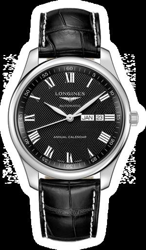 Herrenuhr Longines Automatik 42mm mit schwarzem Zifferblatt und Alligatorenleder-Armband