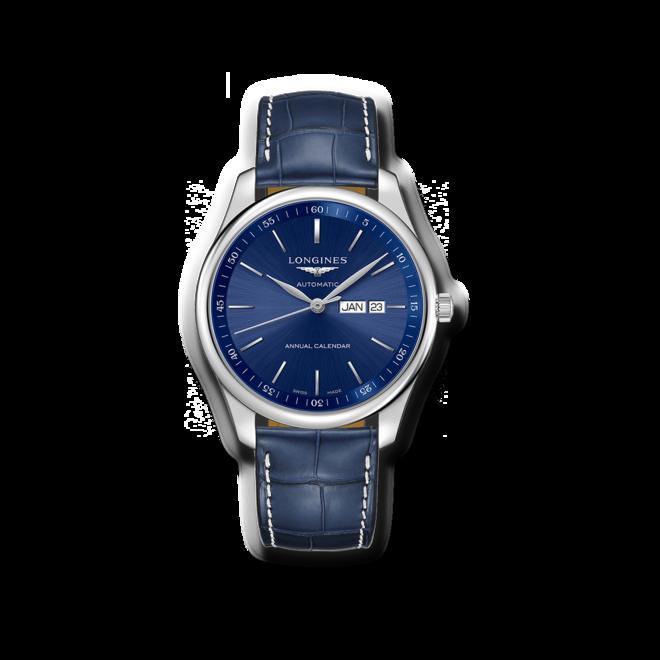 Herrenuhr Longines Automatik 42mm mit blauem Zifferblatt und Alligatorenleder-Armband bei Brogle