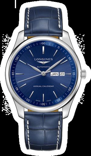 Herrenuhr Longines Automatik 42mm mit blauem Zifferblatt und Alligatorenleder-Armband