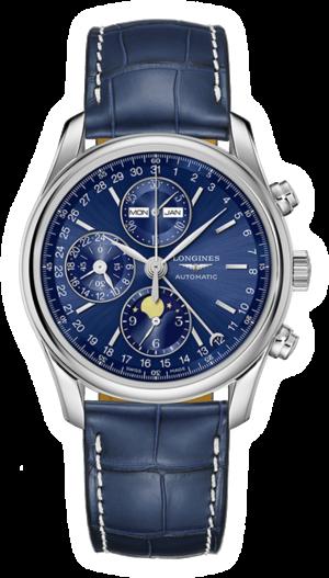 Herrenuhr Longines Automatik Chronograph 40mm mit blauem Zifferblatt und Alligatorenleder-Armband