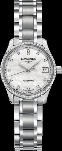 Damenuhr Longines Master Automatik 25,5mm mit Diamanten, perlmuttfarbenem Zifferblatt und Edelstahlarmband