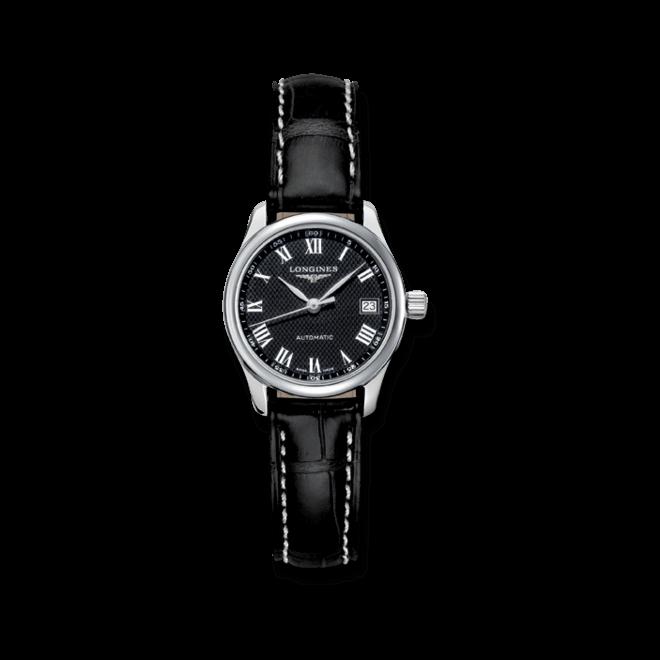 Damenuhr Longines Master Automatik 25,5mm mit schwarzem Zifferblatt und Alligatorenleder-Armband bei Brogle