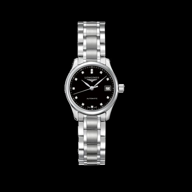 Damenuhr Longines Master Automatik 25,5mm mit Diamanten, schwarzem Zifferblatt und Edelstahlarmband bei Brogle