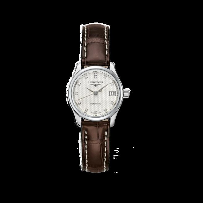 Damenuhr Longines Master Automatik 25,5mm mit Diamanten, silberfarbenem Zifferblatt und Kalbsleder-Armband bei Brogle