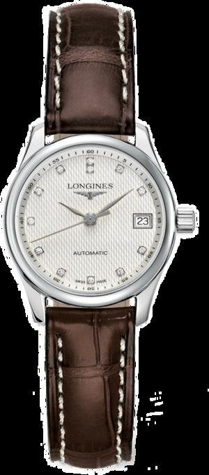 Damenuhr Longines Master Automatik 25,5mm mit Diamanten, silberfarbenem Zifferblatt und Kalbsleder-Armband