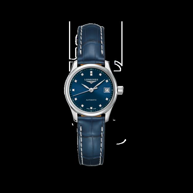 Damenuhr Longines Master Automatik 25,5mm mit Diamanten, blauem Zifferblatt und Alligatorenleder-Armband bei Brogle