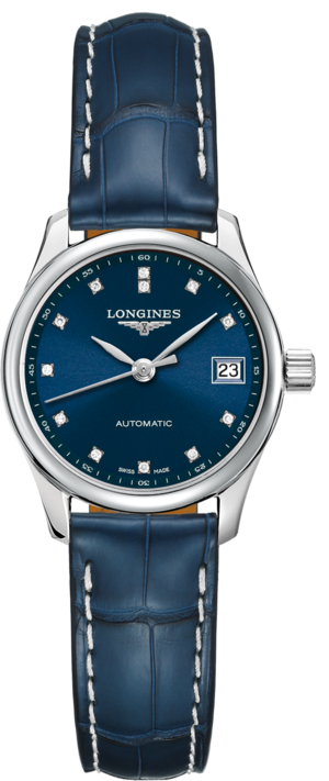 Damenuhr Longines Master Automatik 25,5mm mit Diamanten, blauem Zifferblatt und Alligatorenleder-Armband