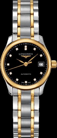Damenuhr Longines Master Automatik 25,5mm mit Diamanten, schwarzem Zifferblatt und Edelstahlarmband