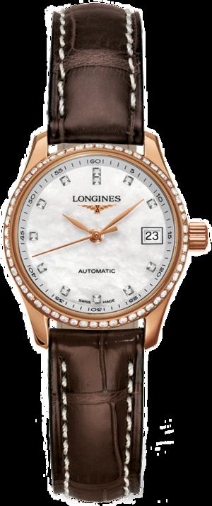 Damenuhr Longines Master Automatik 25,5mm mit Diamanten, perlmuttfarbenem Zifferblatt und Alligatorenleder-Armband