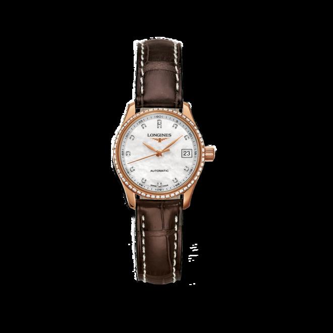 Damenuhr Longines Master Automatik 25,5mm mit Diamanten, perlmuttfarbenem Zifferblatt und Alligatorenleder-Armband bei Brogle