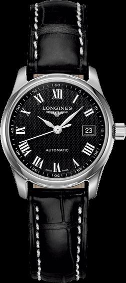 Damenuhr Longines Master Automatik 29mm mit schwarzem Zifferblatt und Alligatorenleder-Armband